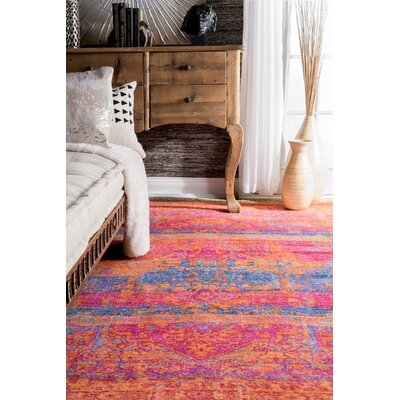 Fredrick Orange/Blue Area Rug Rug Size: Rectangle 5 x 8