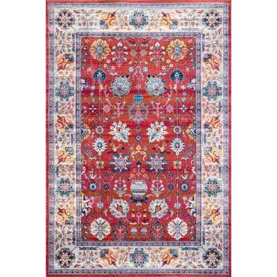 Guilderland Red/Blue Area Rug Rug Size: Rectangle 5 3 x 7 7