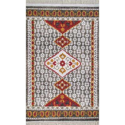 Padilla Hand-Woven Gray/Burgundy Indoor/Outdoor Area Rug Rug Size: Rectangle 5 x 7 5