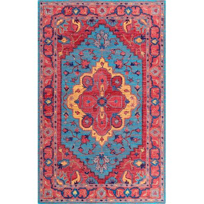 Tammi Hand-Tufted Wool Red/Blue Area Rug Rug Size: Rectangle 7 6 x 9 6