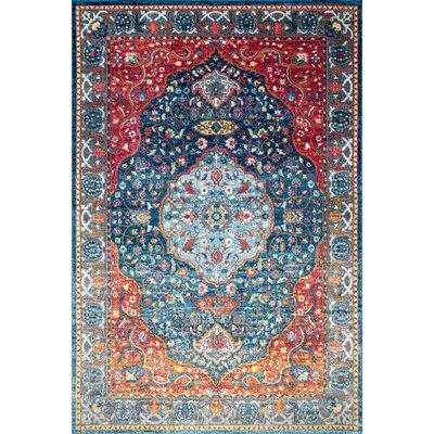 Turien Blue/Red Area Rug Rug Size: Rectangle 9 x 12