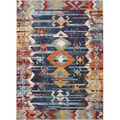 Veendam Blue/Red Area Rug Rug Size: Rectangle 4 x 6