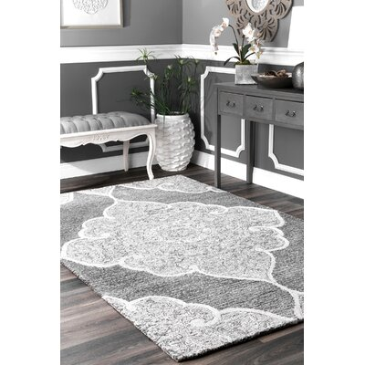 Burdon Hand-Tufted Gray/White Area Rug Rug Size: Rectangle 7 6 x 9 6
