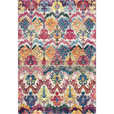 Max Blue/Red Area Rug Rug Size: Rectangle 5 3 x 7 7