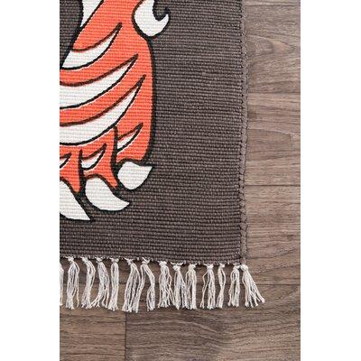 Hand-Woven Orange Indoor/Outdoor Area Rug Rug Size: Rectangle 7 6 x 9 6