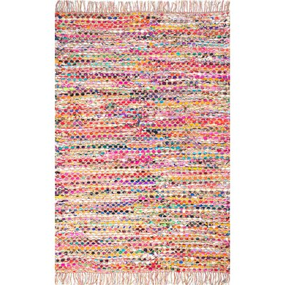Britany Hand-Woven Pink/Yellow Area Rug Rug Size: Rectangle 7 6 x 9 6