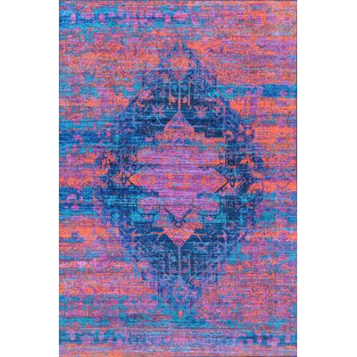 Veere Blue/Pink Area Rug Rug Size: Rectangle 5 x 8