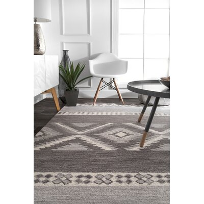 Rothman Hand-Tufted Wool Gray Area Rug Rug Size: Rectangle 7 6 x 9 6