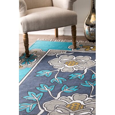 Hand-Woven Navy Indoor/Outdoor Area Rug Rug Size: Rectangle 5 x 7 5