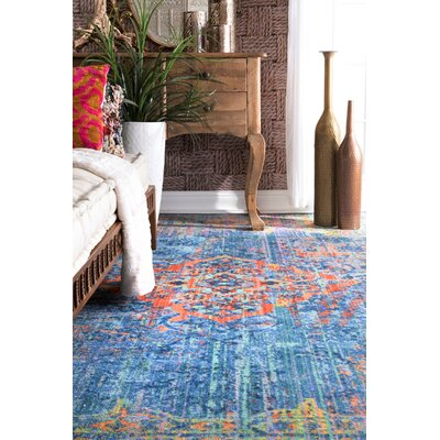 Darren Blue/Yellow Area Rug Rug Size: Rectangle 8' x 10'
