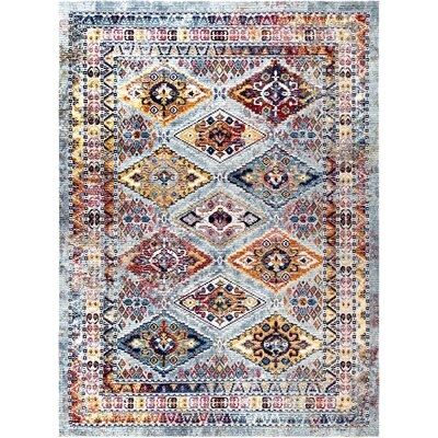 Vecchia Gray/Blue Area Rug Rug Size: Rectangle 5 3 x 7 7
