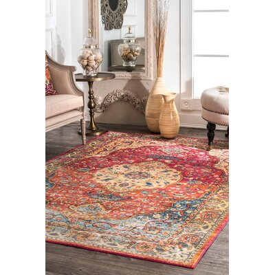 Vicky Red/Brown Area Rug Rug Size: Rectangle 5 3 x 7 7