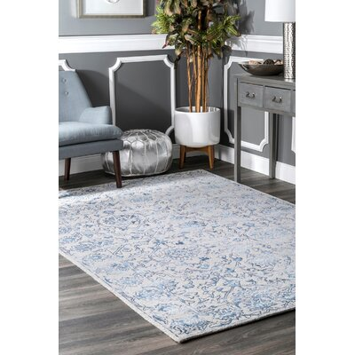Lilyana Hand-Tufted Wool Blue/Ivory Area Rug Rug Size: Rectangle 7 6 x 9 6