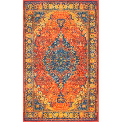 Veenendaal Orange/Yellow/Blue Area Rug Rug Size: Rectangle 8 x 10
