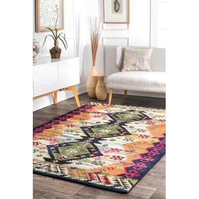 Ulysses Green/Orange Area Rug Rug Size: Rectangle 5 3 x 7 7