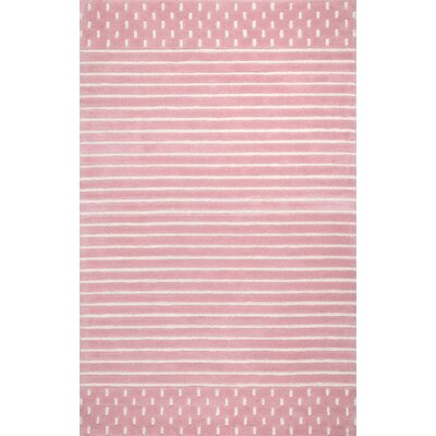 Baddeley Hand Woven Wool Pink Area Rug Rug Size: Rectangle 7 6 x 9 6