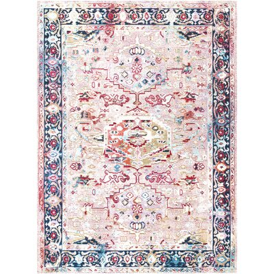 Vanves Pink/Blue/Red Area Rug Rug Size: Rectangle 5 3 x 7 7