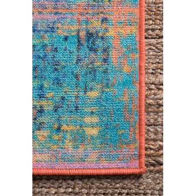 Pat Blue/Yellow/Teal Area Rug Rug Size: Rectangle 5 x 8