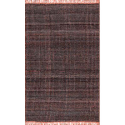 Aaliyah Hand LoomedDark Gray/Orange Area Rug Rug Size: Rectangle 7 6 x 9 6
