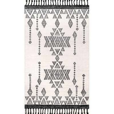 Bainbridge Wool Ivory/Black Area Rug Rug Size: Rectangle 7 6 x 9 6