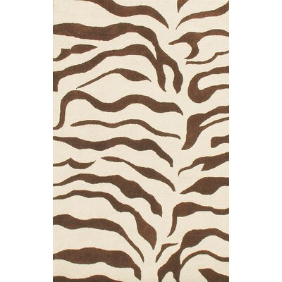 Earth Zebra Print Hand-Tufted Wool Brown Area Rug Rug Size: Rectangle 4 x 6