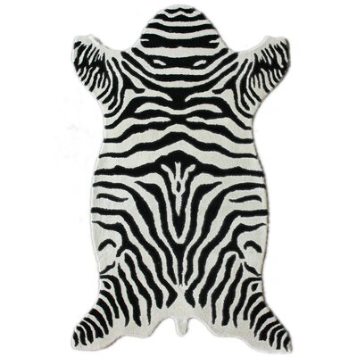 Safari Hand-Tufted Wool Zebra White Area Rug Rug Size: Shaped 5 x 8