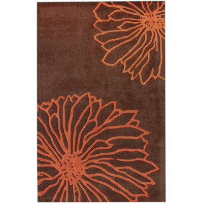Gradient Floralina Hand-Tufted Wool Orange Area Rug Rug Size: Rectangle 5 x 8