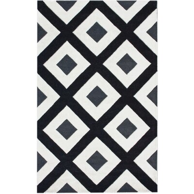 Bella Diamonds Hand-Tufted Wool Black/White Area Rug Rug Size: Rectangle 36 x 56