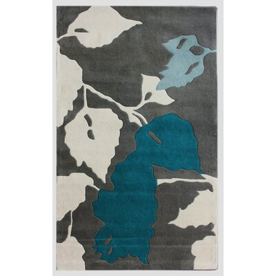 Bella Leaves Gray & Blue Area Rug Rug Size: Rectangle 6' x 9'