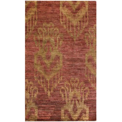 Sophist-Ikat Hand-Knotted Coral Area Rug Rug Size: Rectangle 76 x 96