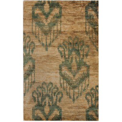 Sophist-Ikat Hand-Knotted Tan Area Rug Rug Size: Rectangle 76 x 96