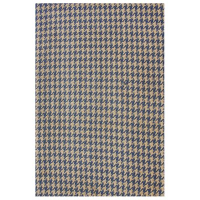 Natura Houndstooth Hand-Woven Blue/Brown Area Rug Rug Size: 76 x 96