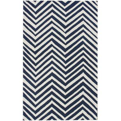 "Chelsea Navy Blue/White Chevron Area Rug Rug Size: 3'6"" x 5'6"" NUJHK04E-36056"