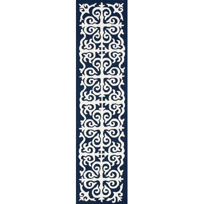 Chelsea Hand-Hooked Wool Navy Blue/White Area Rug Rug Size: Runner 26 x 10