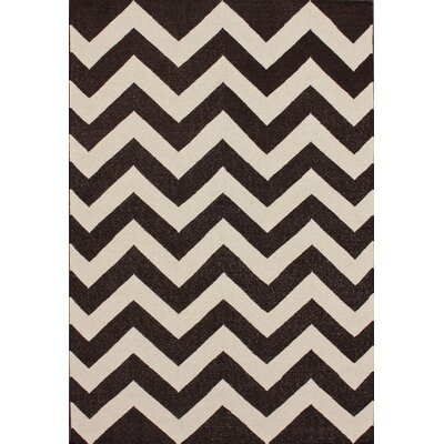 Marbella Chevron Espresso Kilim Area Rug Rug Size: Rectangle 76 x 96