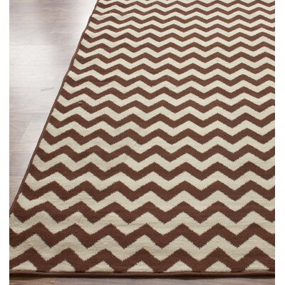 Allure Brown/Ivory Chevron Area Rug Rug Size: Round 52