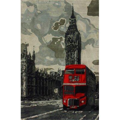 Sovereign Gray London Bus Novelty Area Rug Rug Size: 76 x 96
