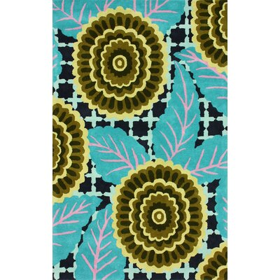 Fancy Hand-Tufted Wool Turquoise Area Rug Rug Size: Rectangle 5 x 8
