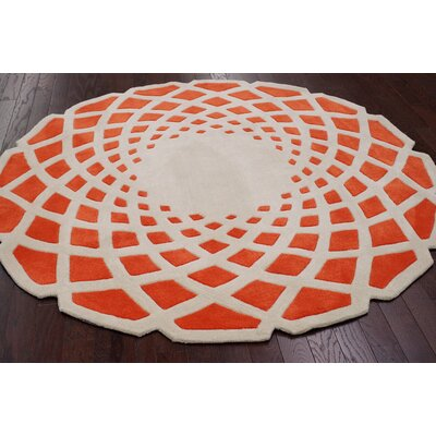 Cine Orange Crystal Area Rug Rug Size: Round 6