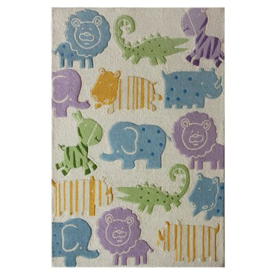 Kinder Ivory Animal Kingdom Area Rug Rug Size: 36 x 56