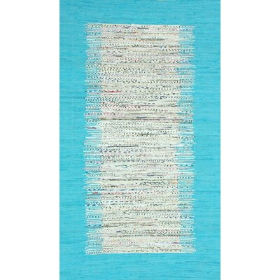 Munegu Talia Rag Hand-Woven Cotton Turquoise/Gray Area Rug Rug Size: Rectangle 6 x 9