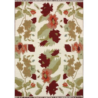 Texture Flowers Hand- Flat Woven Natural Area Rug Rug Size: 76 x 96