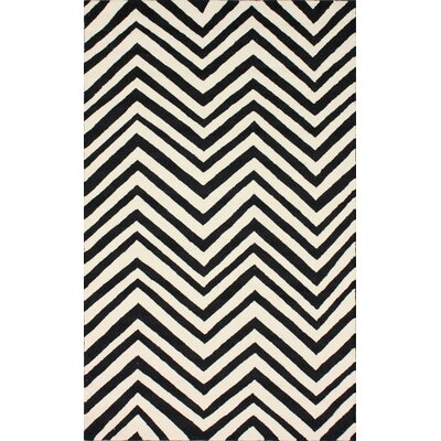 Homestead Ash Arron Hand-Hooked Black/Ivory Area Rug Rug Size: Rectangle 9 x 12
