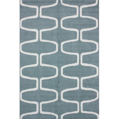 Serendipity Hand-Hooked Wool Light Blue/White Area Rug Rug Size: Rectangle 36 x 56