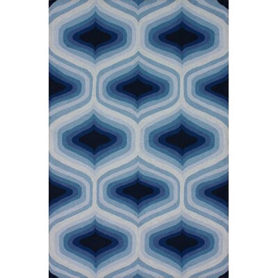 Trellis Hand-Hooked Wool Blue Area Rug Rug Size: Rectangle 5 x 8