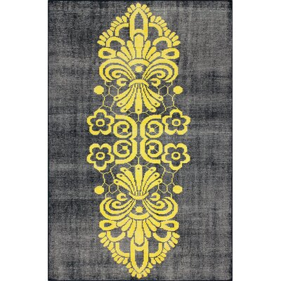 Overdye Tribal Hand-Knotted Yellow/Navy Area Rug Rug Size: Rectangle 5 x 8