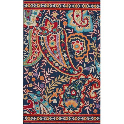 Moderna Hand-Tufted Wool Red/Blue Area Rug Rug Size: Rectangle 76 x 96