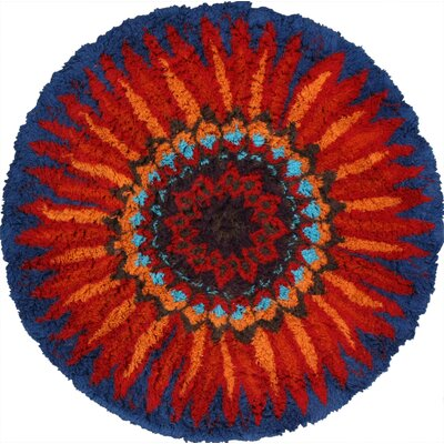 Moderna Hand-Tufted Wool Red/Blue Area Rug Rug Size: Round 8
