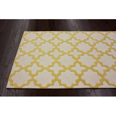 Moderna Sunshine Zoe Trellis Hand Tufted Wool Yellow/Gray Area Rug Rug Size: Runner 26 x 8