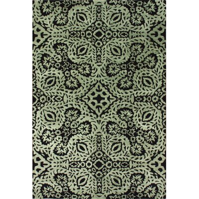 Serai Hand-Tufted Wool Black/Green Area Rug Rug Size: Rectangle 76 x 96